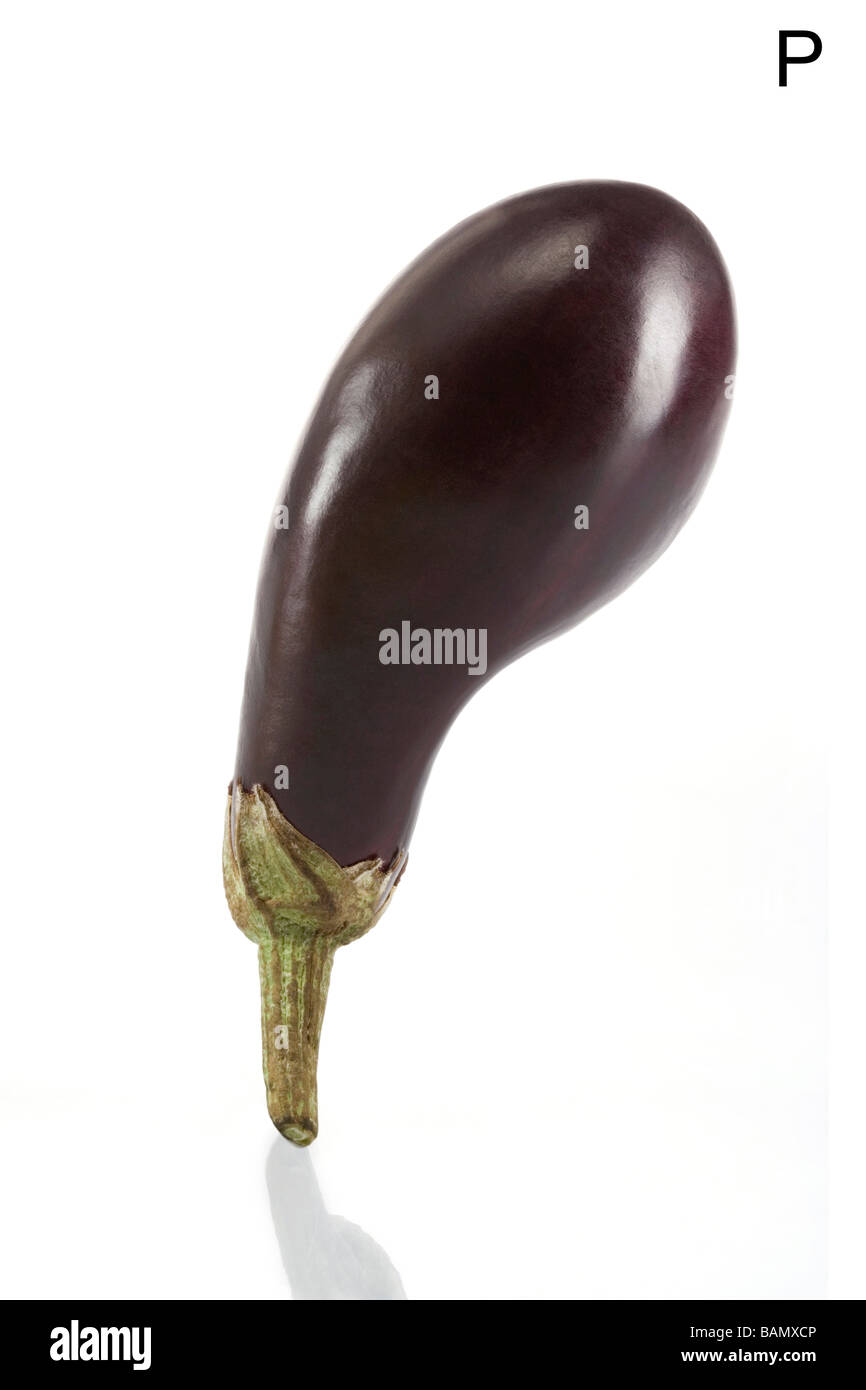From the Health-abet, the Letter P, an eggplant. - Stock Image