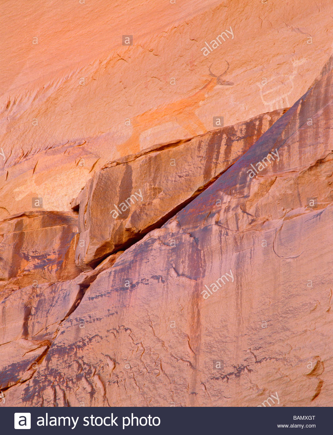 Anasazi and  Navajo pictographs at  Antelope House Canyon del Muerto Canyon de Chelly National Monument Arizona - Stock Image