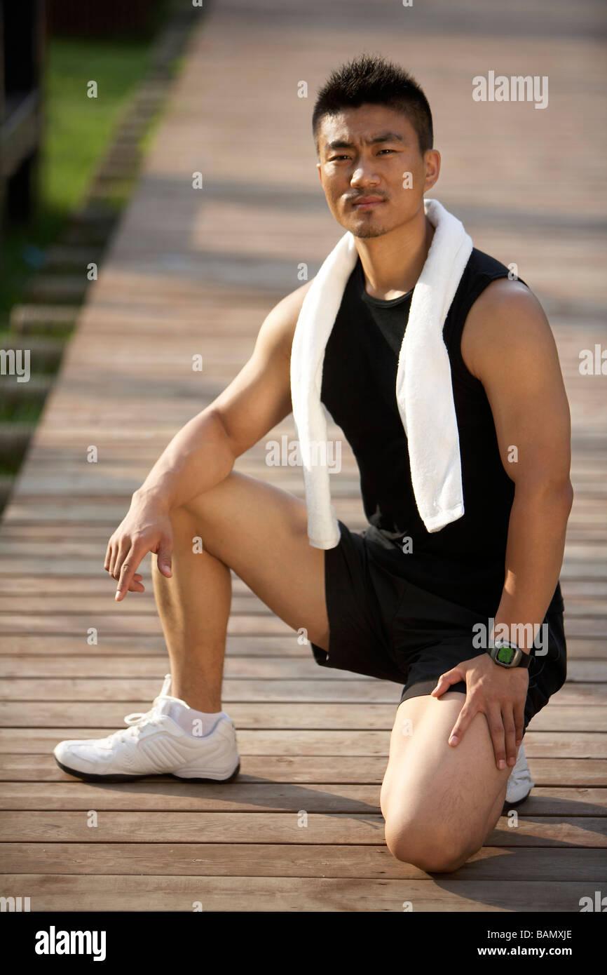 Man Exercising Outdoors - Stock Image