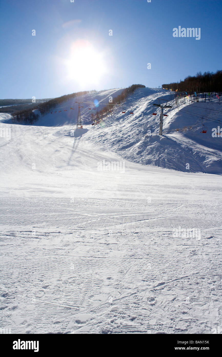 View of a ski lift - Stock Image