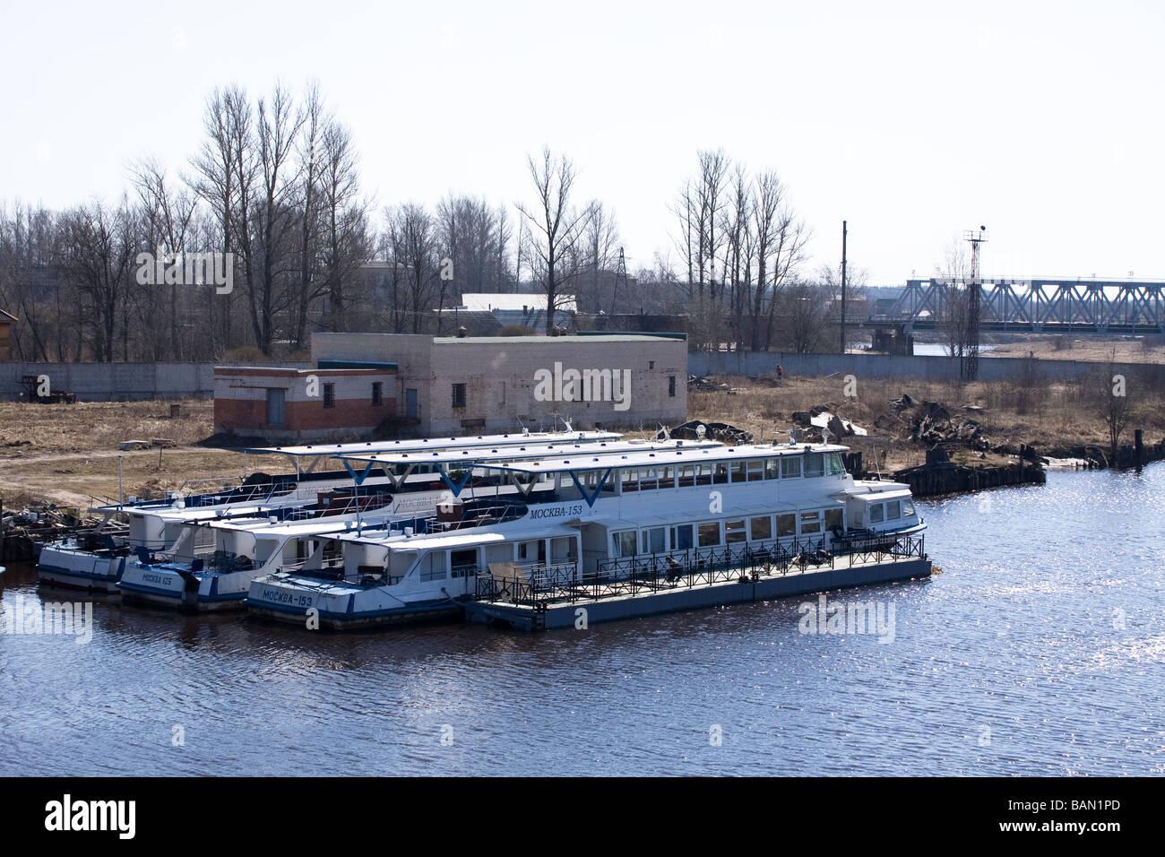 river cruise ships moorage preparing to navigation - Stock Image