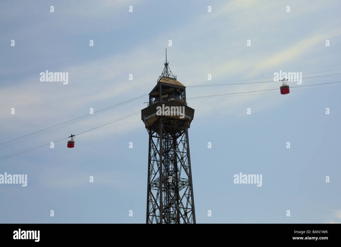 Cablecar tower Jaume I in Barcelona, Spain - Stock Image