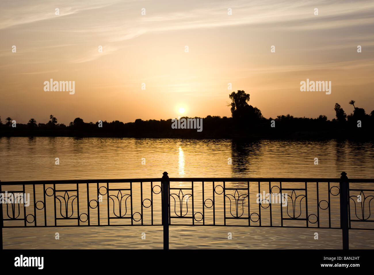 Sunset over the River Nile Luxor Egypt Africa - Stock Image