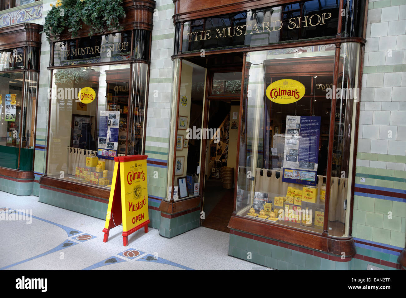 Colman's mustard shop Royal Arcade Norwich Norfolk England - Stock Image