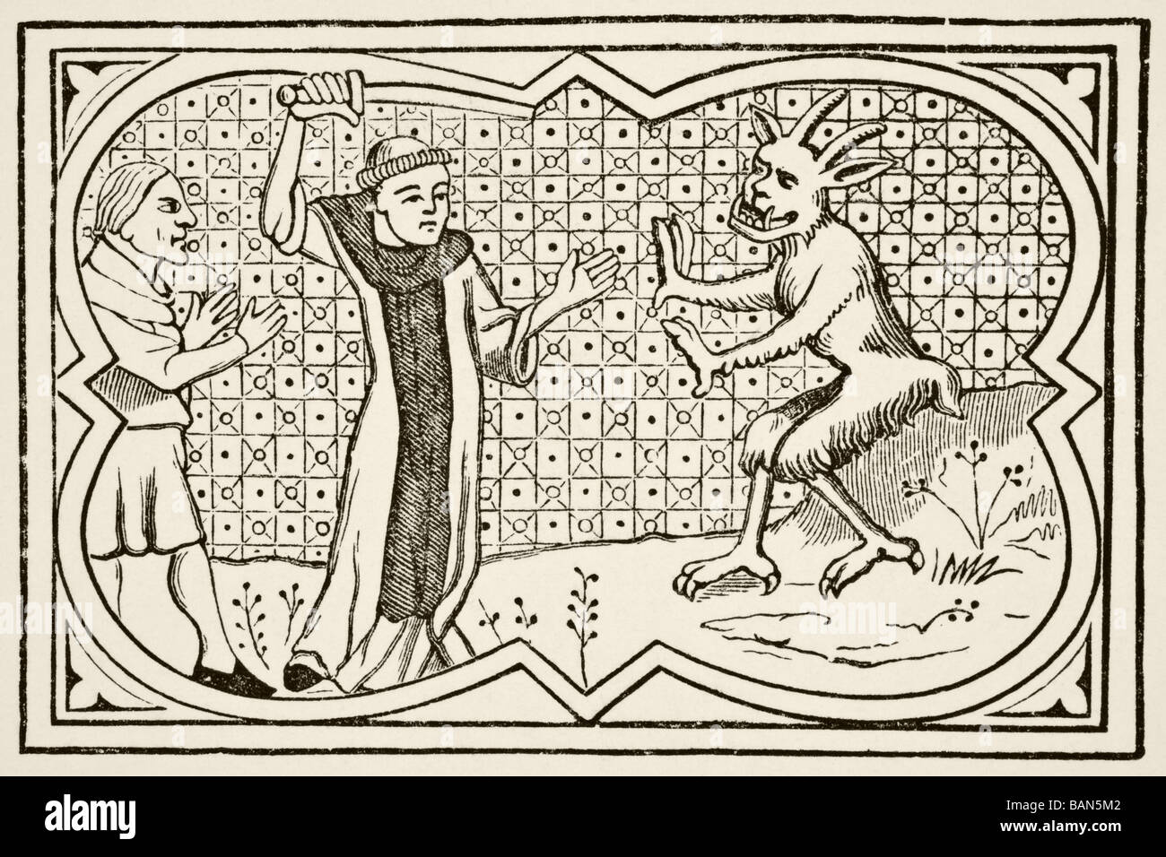 The devil attempts to seize a magician who had formed a pact with him but is prevented by a lay brother - Stock Image