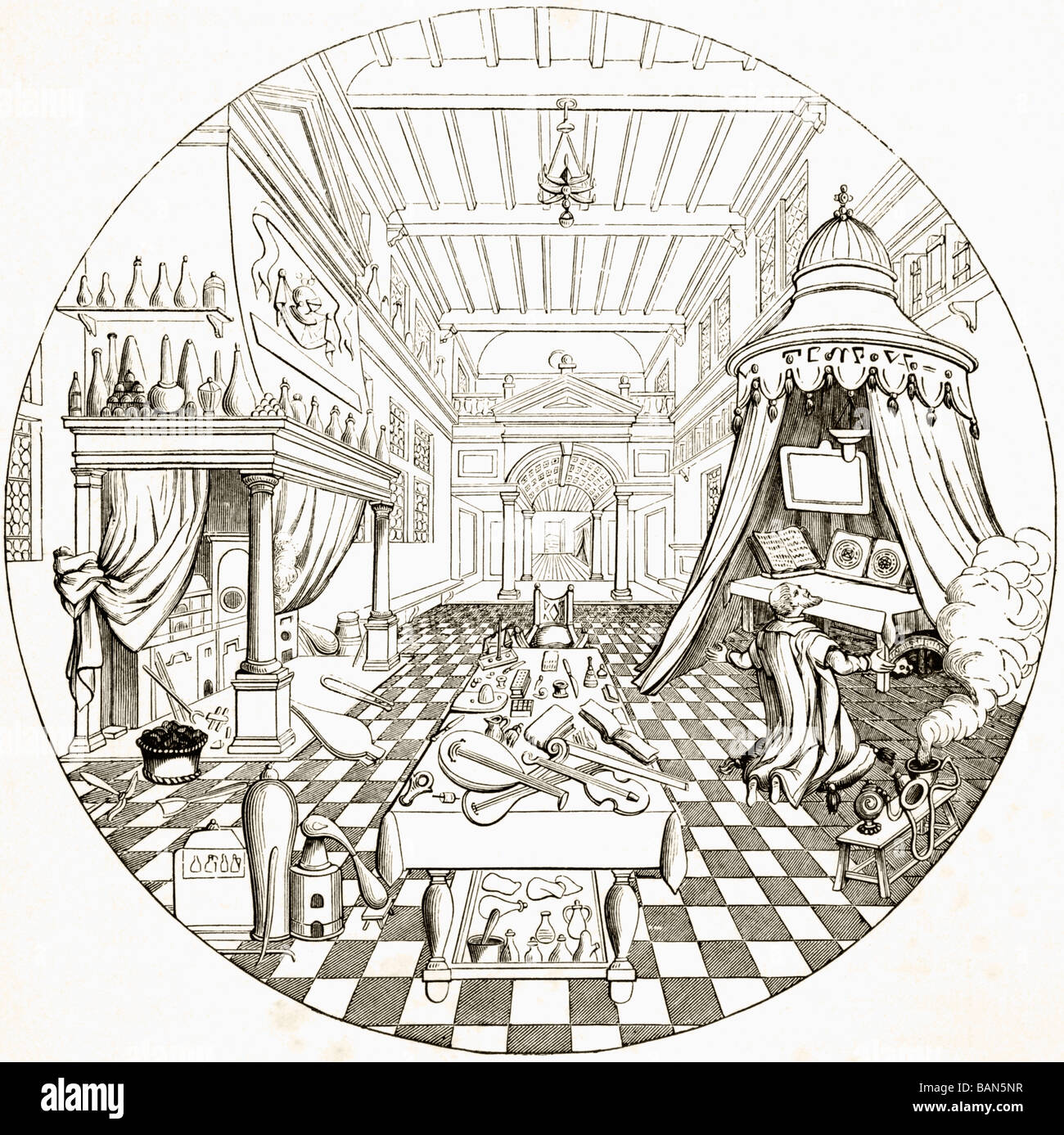 The Alchemist, after an engraving by Vriese in The Cabinet of Designs. - Stock Image