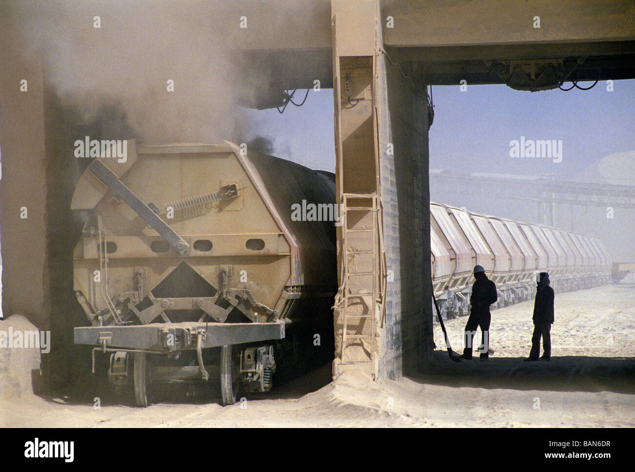 loading of freight waggons in phosphate mine area of selja tunisia - Stock Image