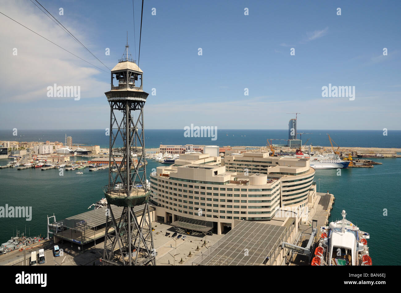 Aerial view of World Trade Center in Barcelona, Spain Stock Photo