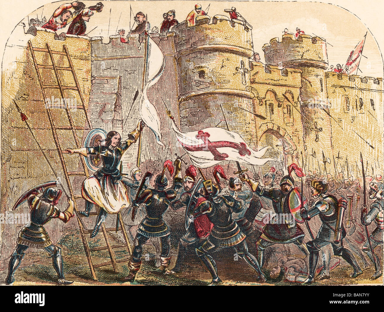 Joan of Arc leads French army against English defenders of Les Tourelles gate in siege of Orleans, May 7, 1429. - Stock Image