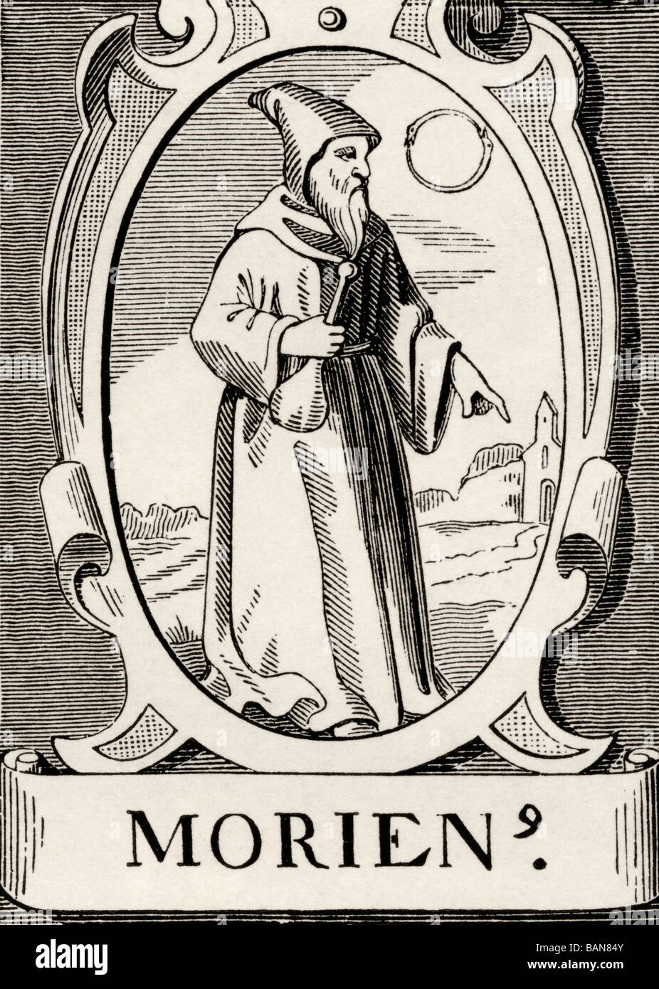 Byzantine monk Morien or Marianos or Morienus the Greek author of book on Alchemy. - Stock Image