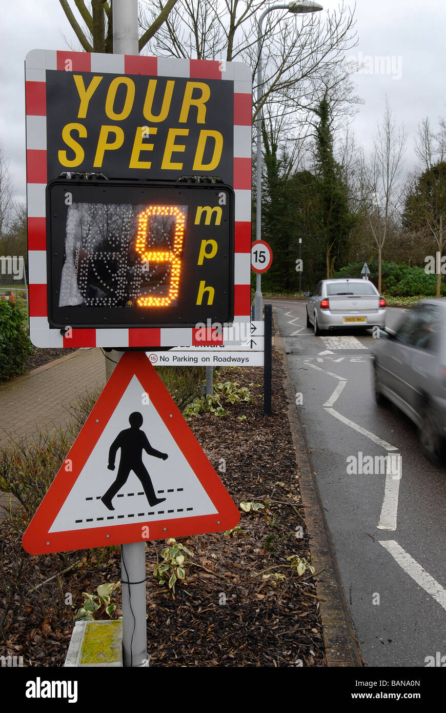 Speed Reduction Warning Sign - Stock Image