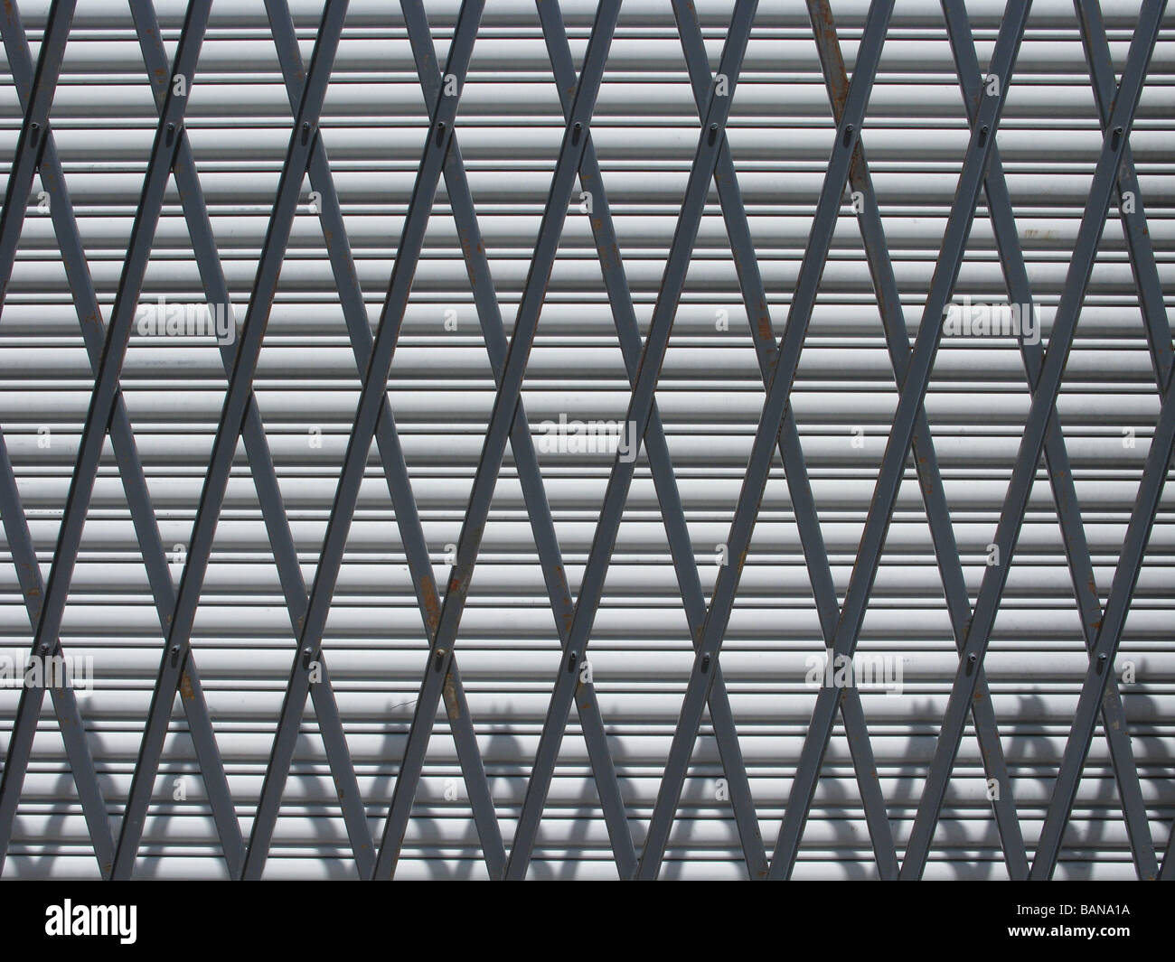 Two metal security gates - Stock Image
