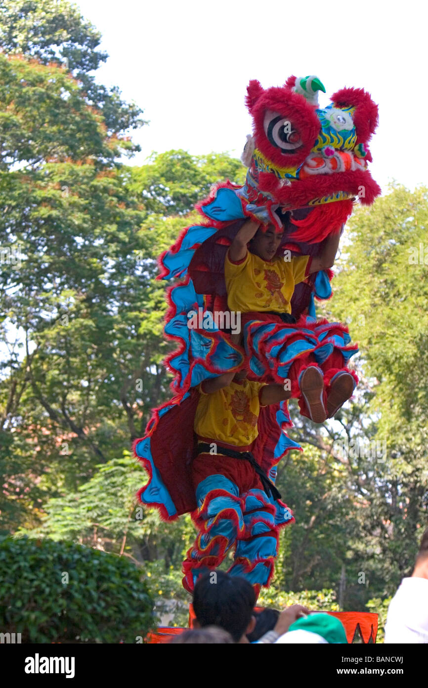 Vietnamese dragon dance during Tet Lunar New Year celebrations in Ho Chi Minh City Vietnam - Stock Image