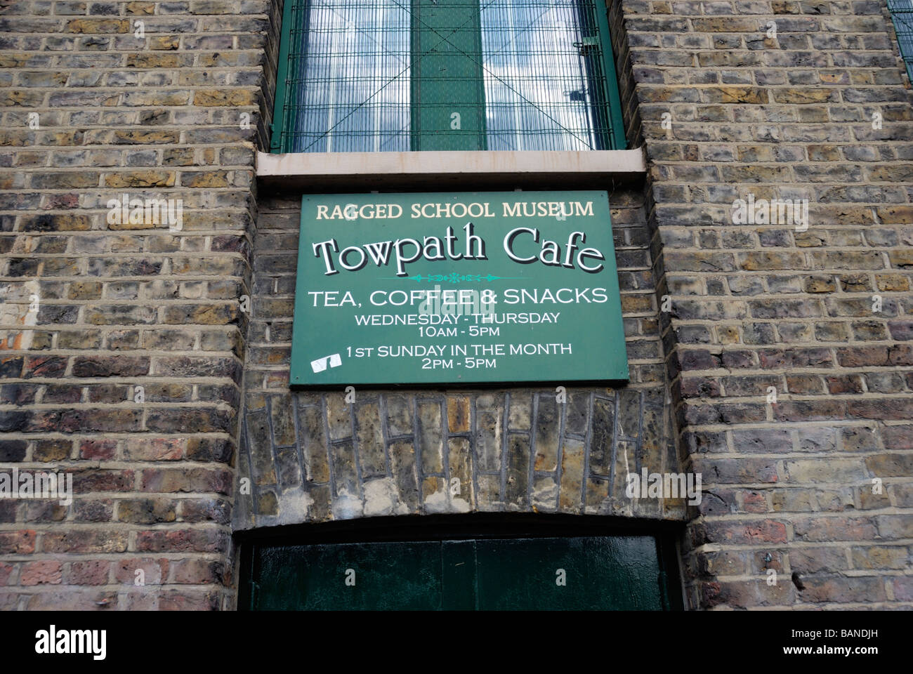 Ragged School Museum Towpath Cafe sign Stepney London - Stock Image