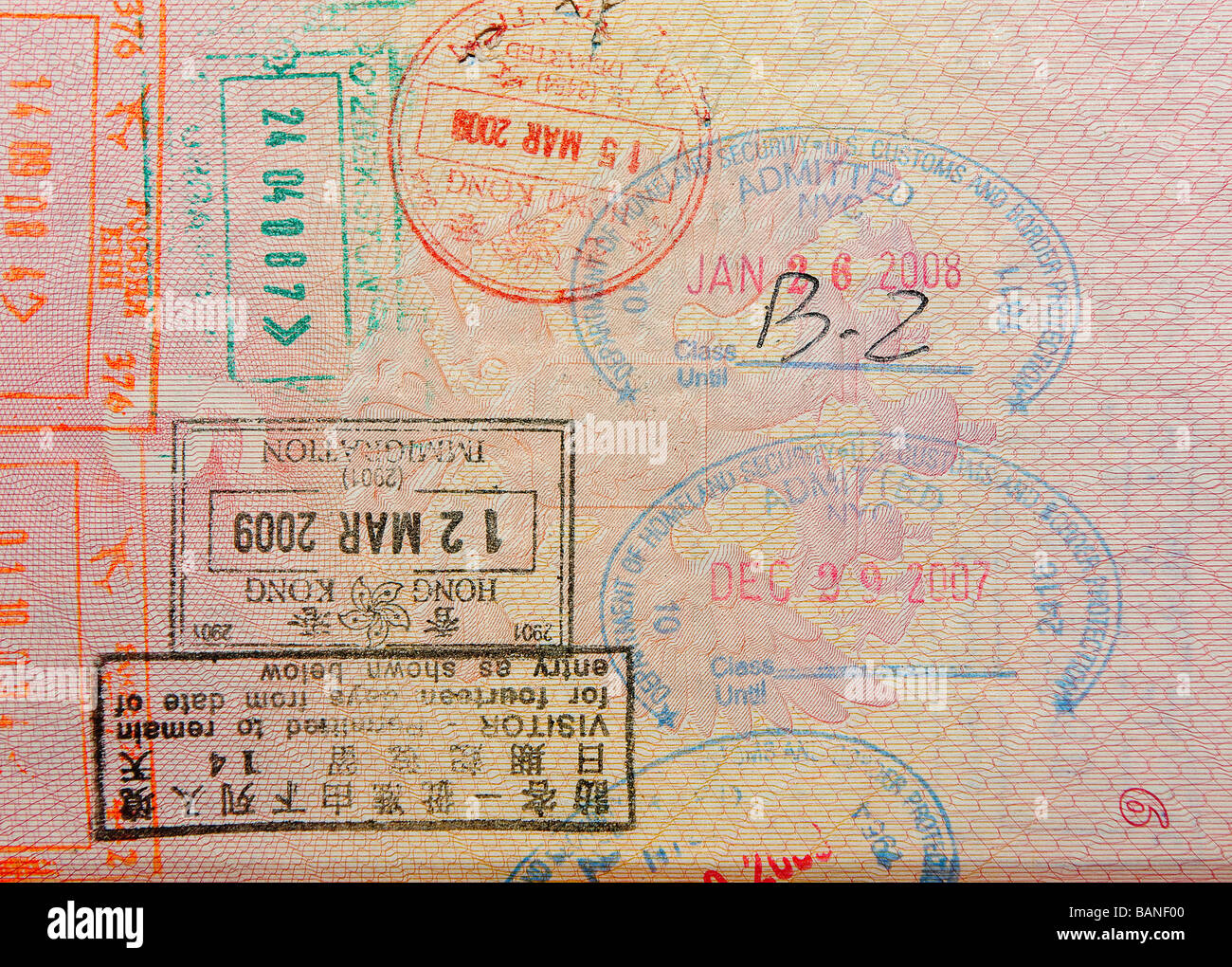 passport with hong kong stamps - Stock Image
