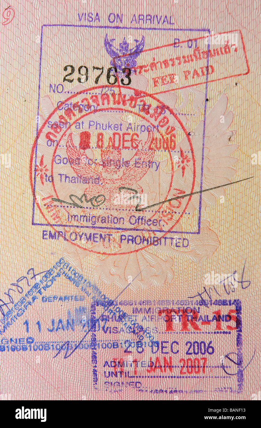 passport with thai visa and stamps - Stock Image