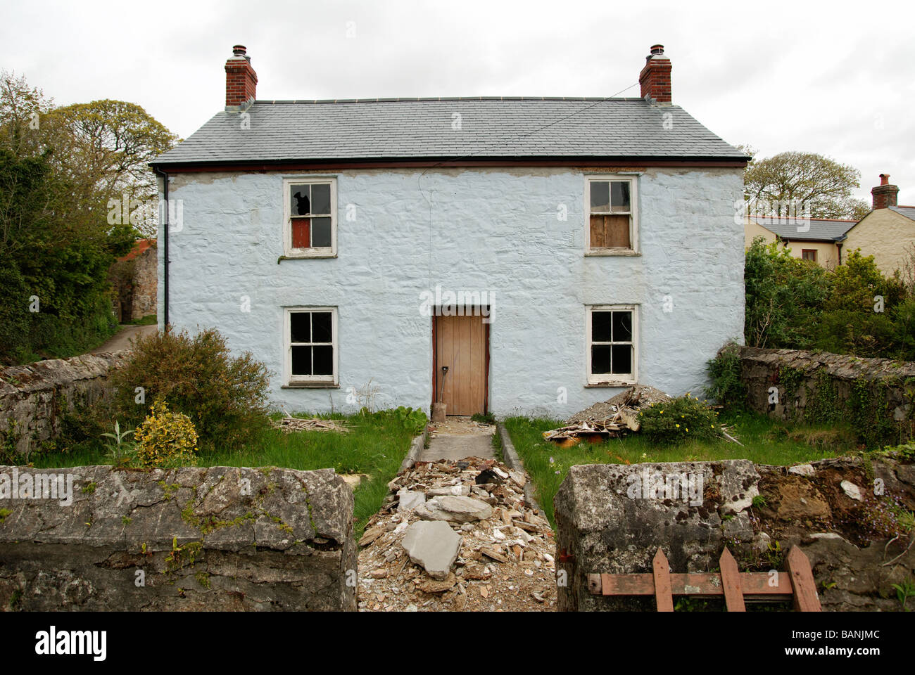 an old cottage in cornwall being refurbished as a holiday property or second home - Stock Image
