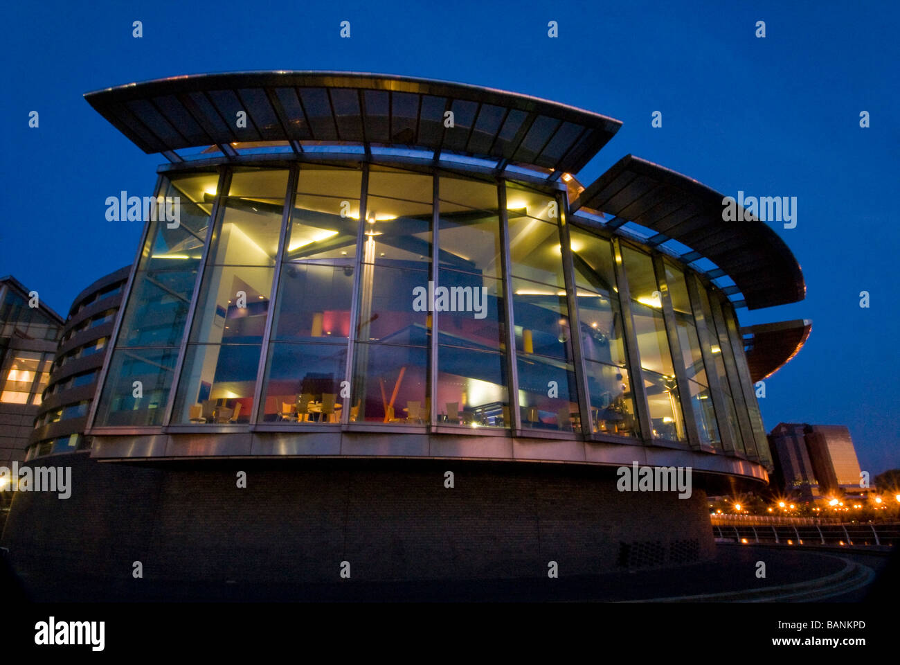 The Lowry Centre window lit up at night, Salford Quays, Manchester, England, UK - Stock Image