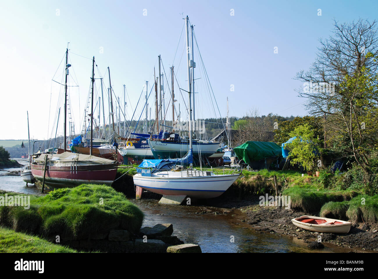 the boatyard at gweek near helston,cornwall,uk - Stock Image