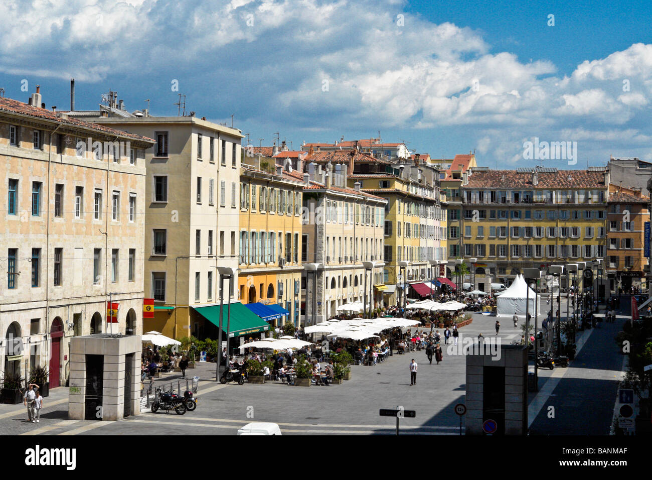 Place Aux Huiles, viewed from Montee Ludovic-Henri Monnier, Marseille - Stock Image
