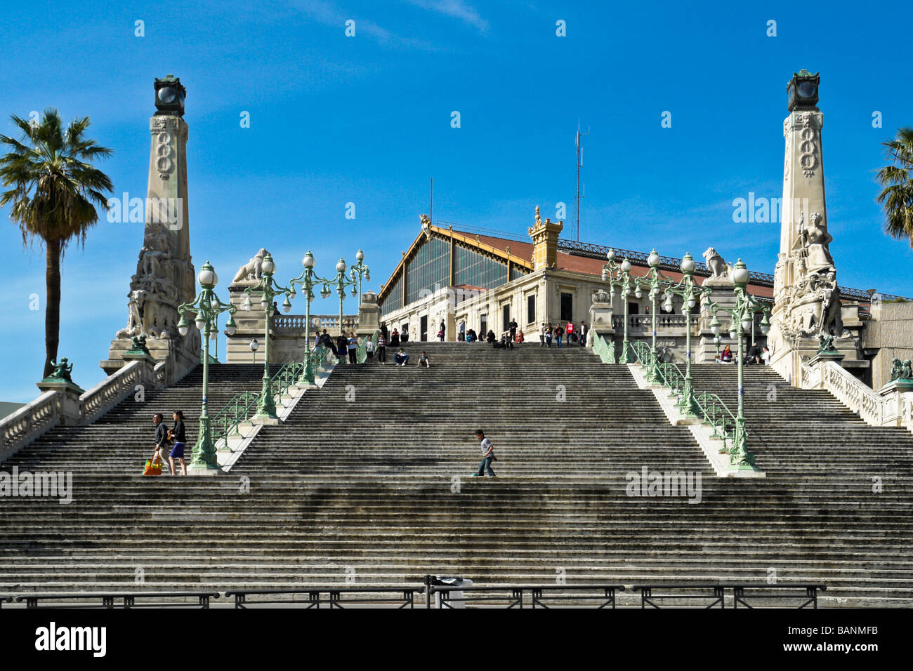 Flight of steps in front of Gare Saint-Charles in the centre of Marseille France Stock Photo