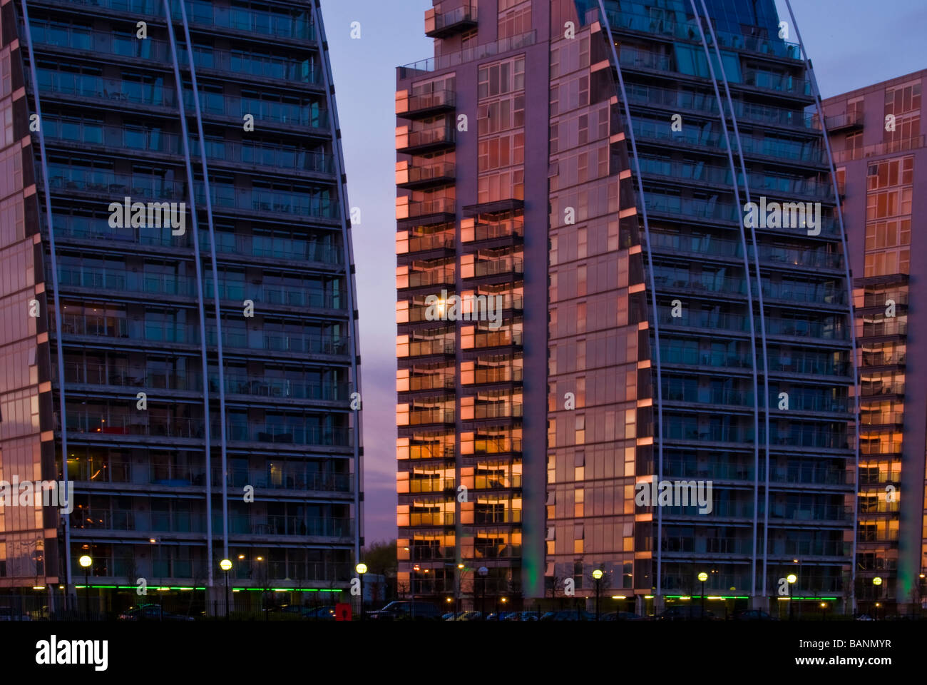 NV Buildings at Salford Quays, Manchester, England, UK - Stock Image