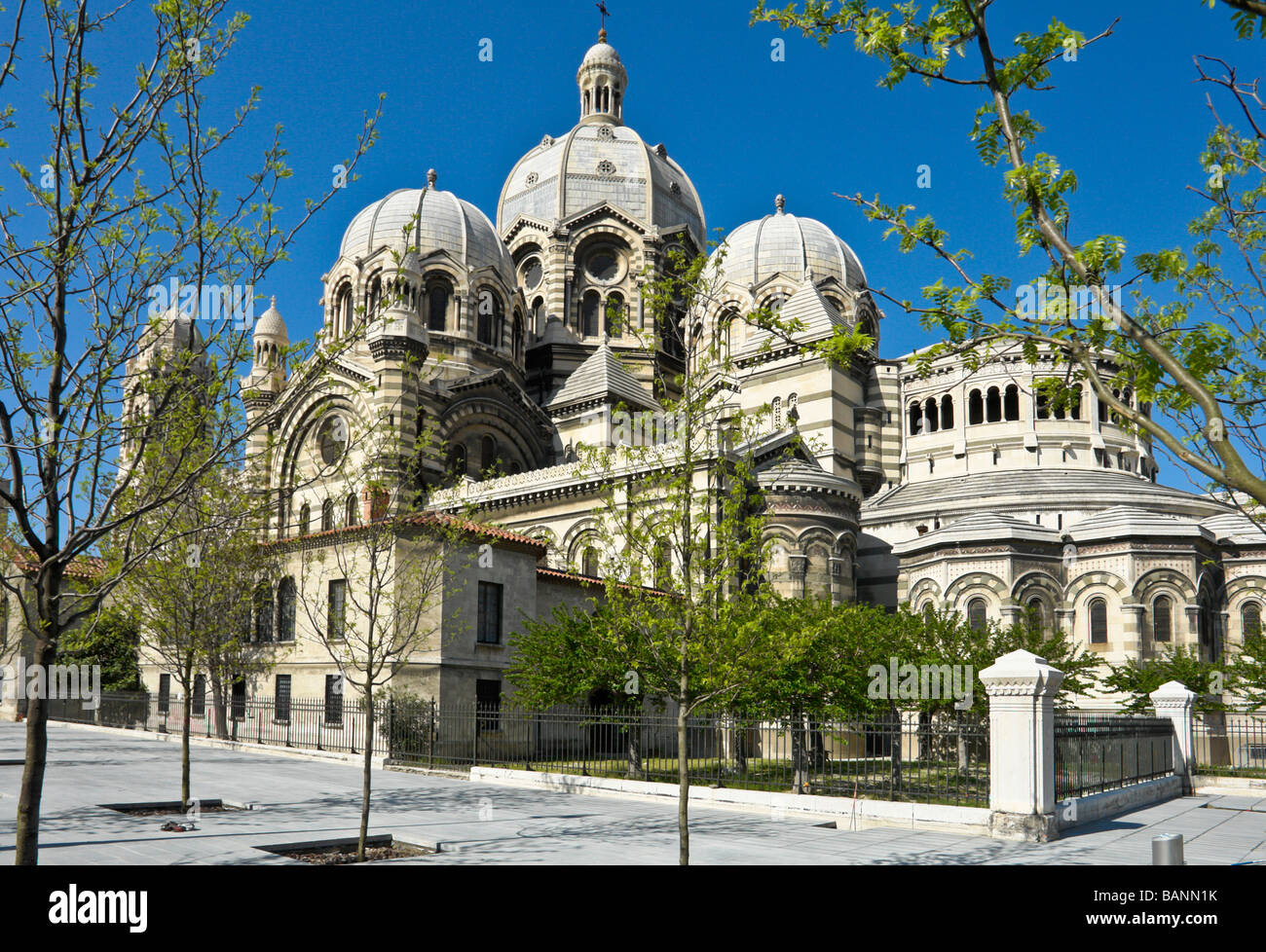 View of Marseille Cathedrale showing the new cathedral square - Stock Image