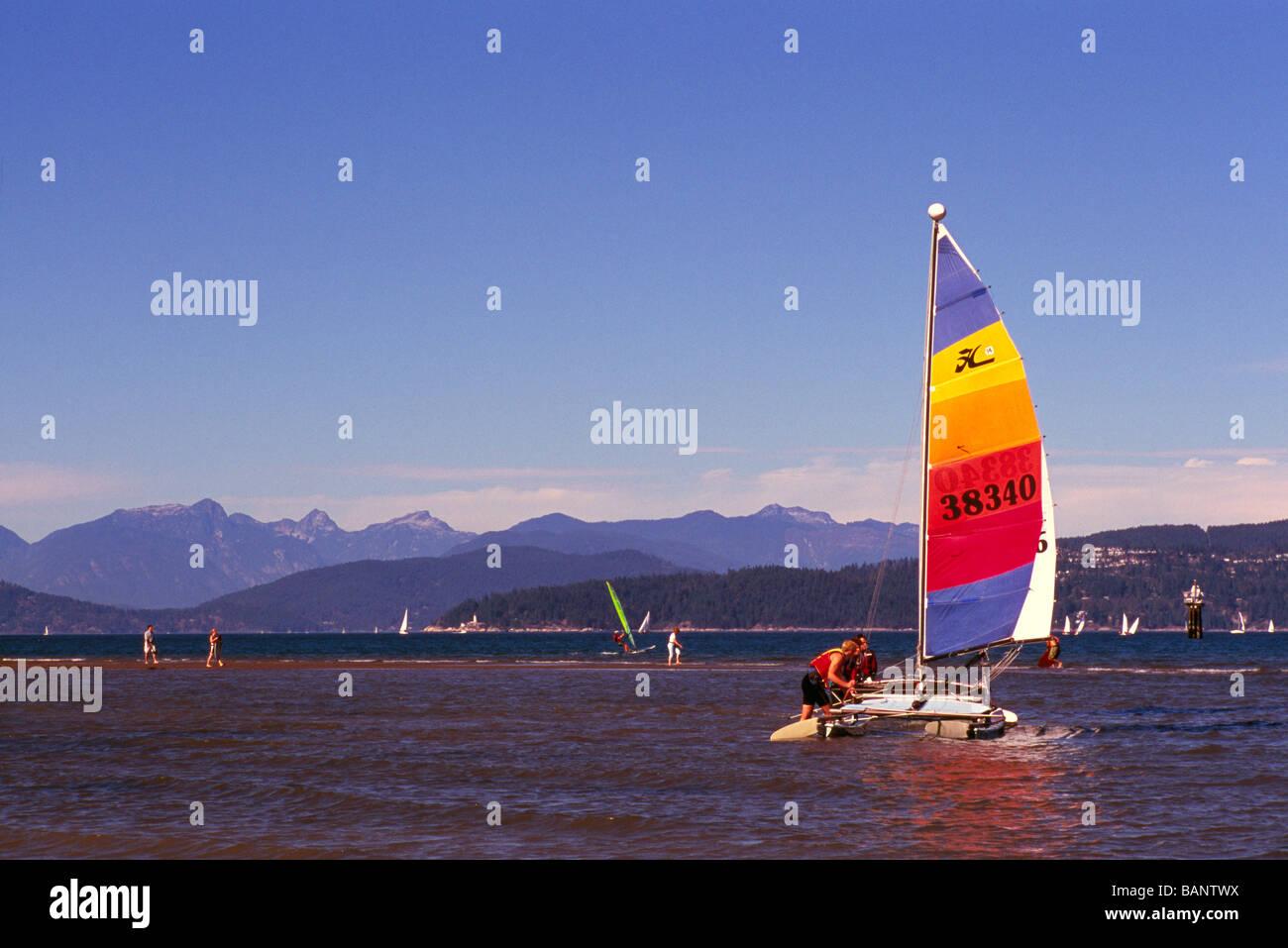 Catamaran Sailboat Sailing In English Bay At Jericho Beach Vancouver And The
