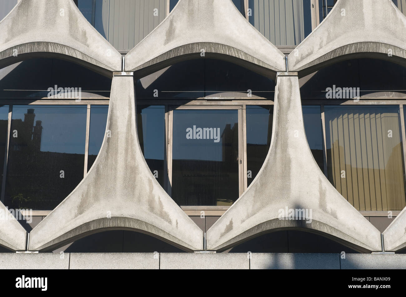 Concrete modern façade of a building Brussels Brabant Belgium - Stock Image