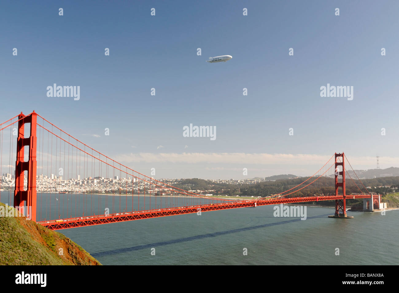 The golden gate bridge san francisco with an airship blimp flying sightseeing over it san francisco USA north america - Stock Image