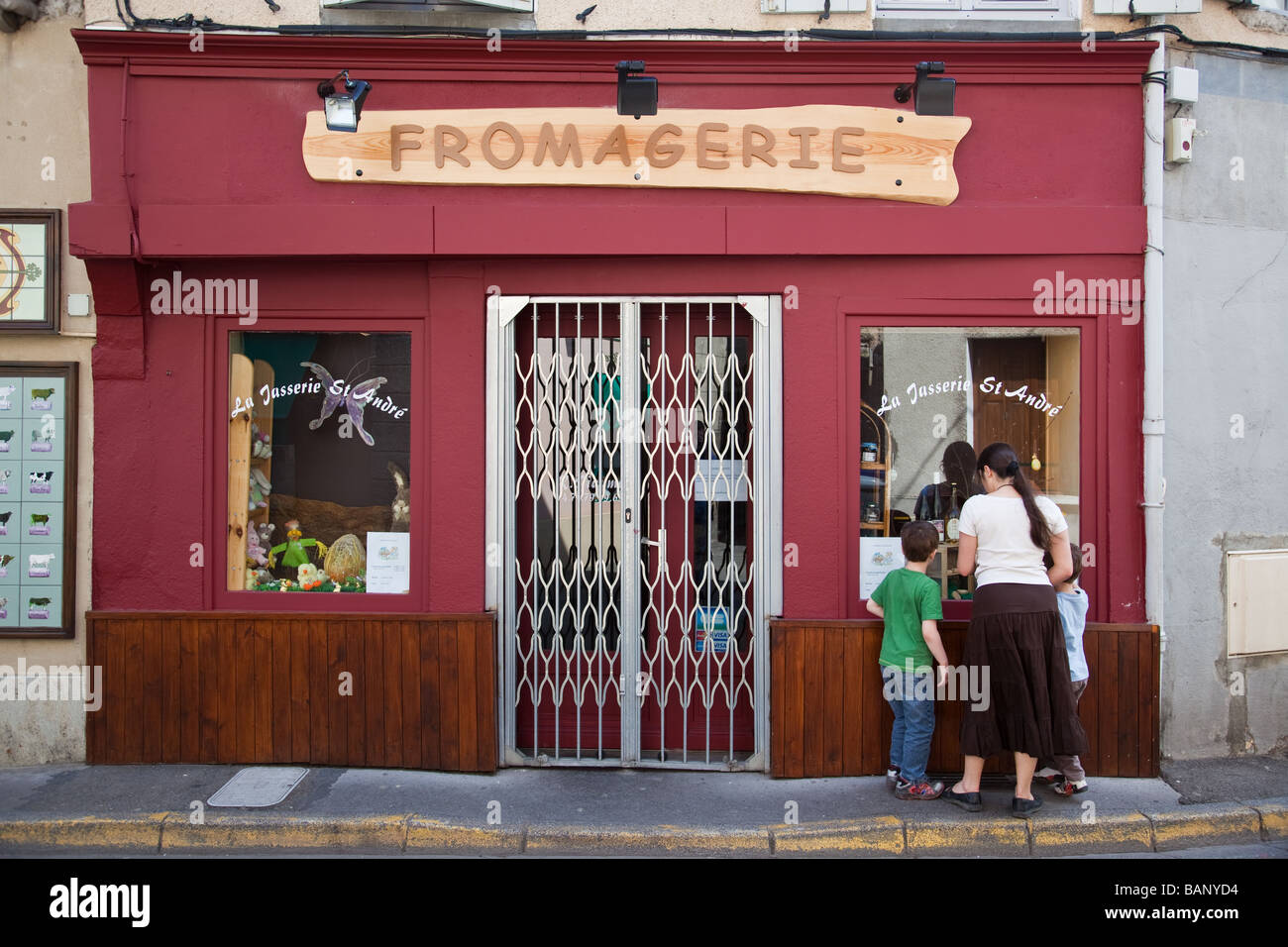 Fromagerie in Saint Just Saint Rambert in Loire department of central France - Stock Image
