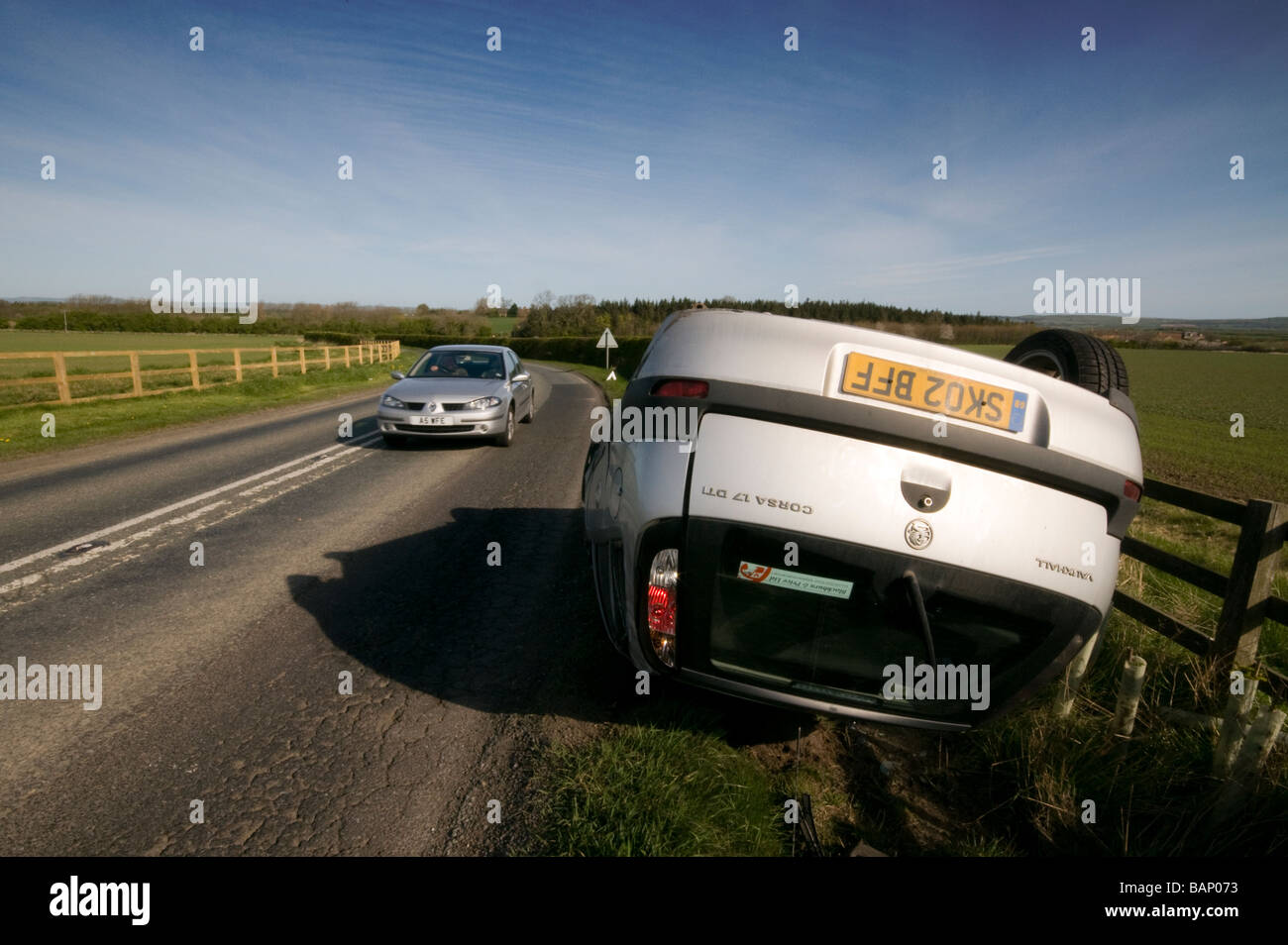 Non fatal car crash on a country road, an underage driver and the car taken without consent. - Stock Image