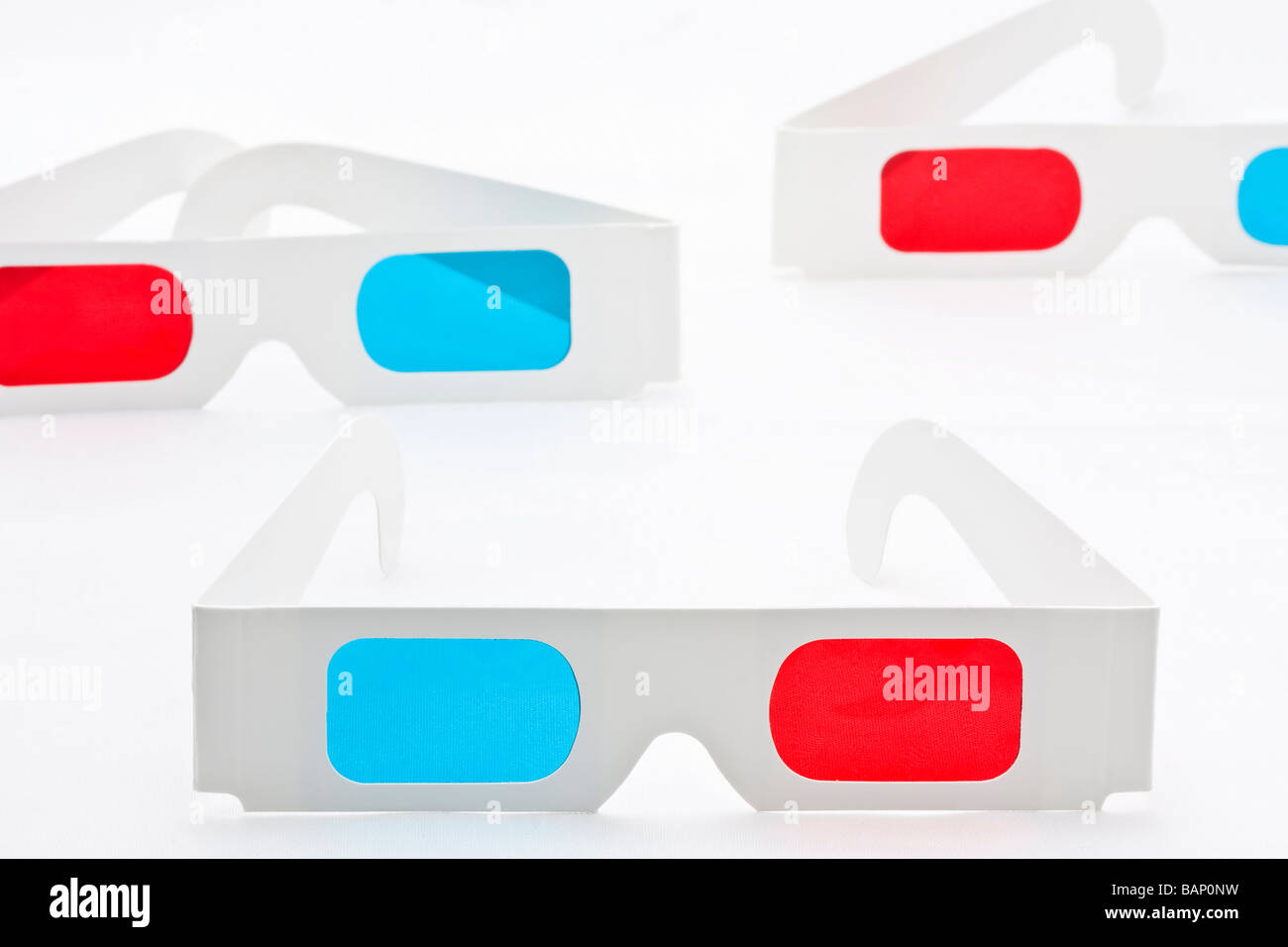 3D Eyeglasses on White - Stock Image