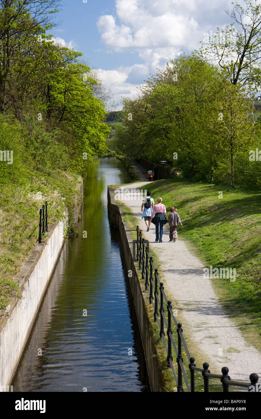 Huddersfield Narrow Canal at Slaithwaite, West Yorkshire - Stock Image