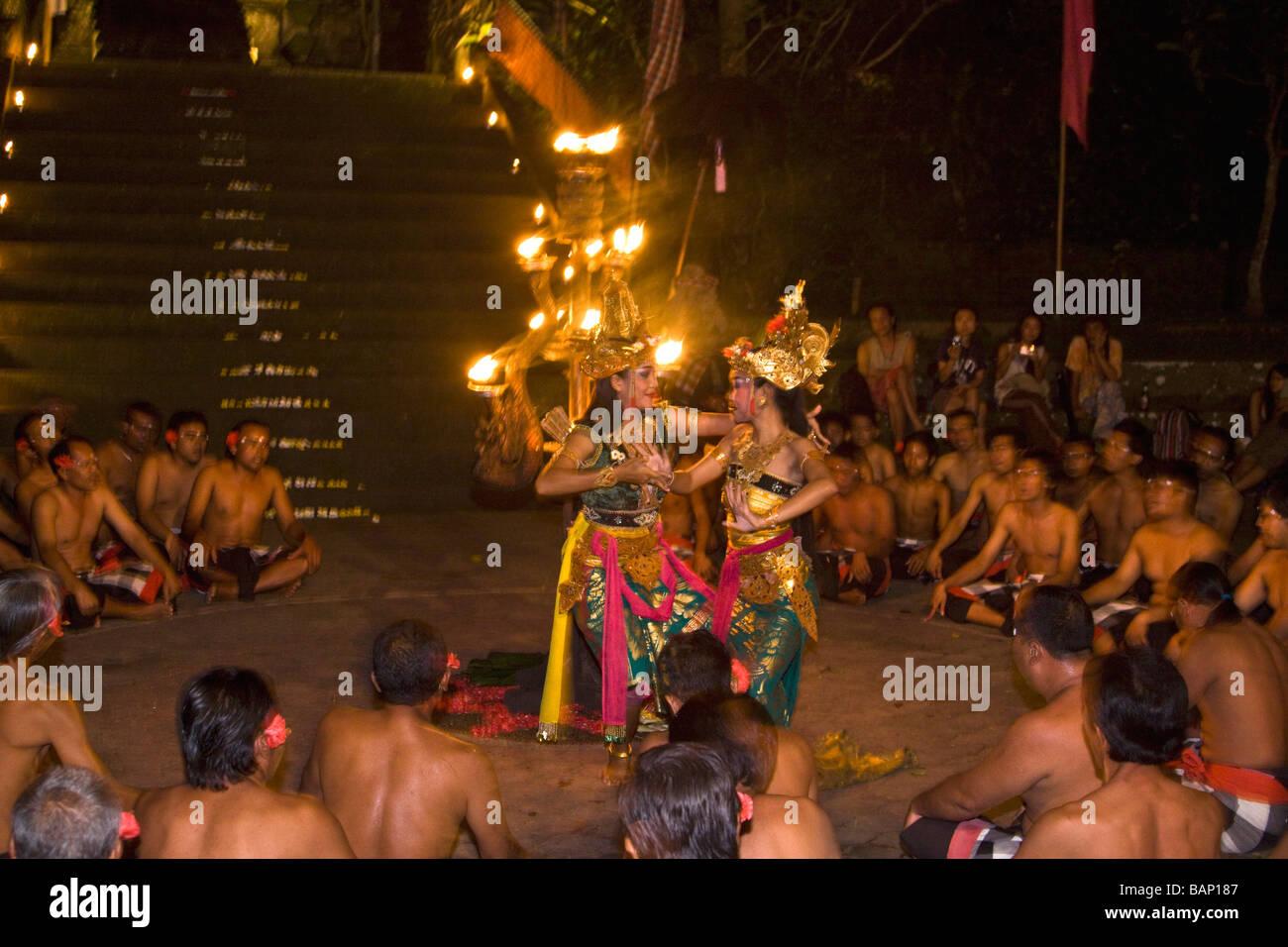 Kecak dance in Ubud Bali Indonesia - Stock Image