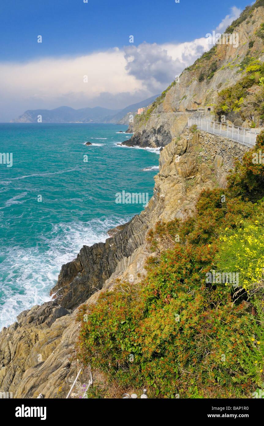 View from the Via del Amore (Via dell' Amore) to Manarola, Cinque Terre, Liguria, Italy. - Stock Image
