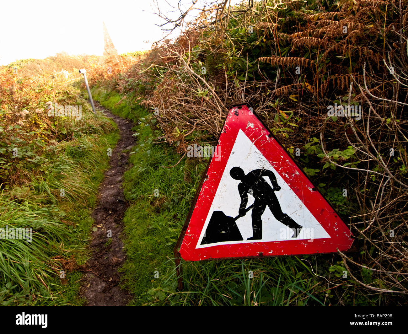 Roadworks sign at Knills Steeple, St Ives - Stock Image