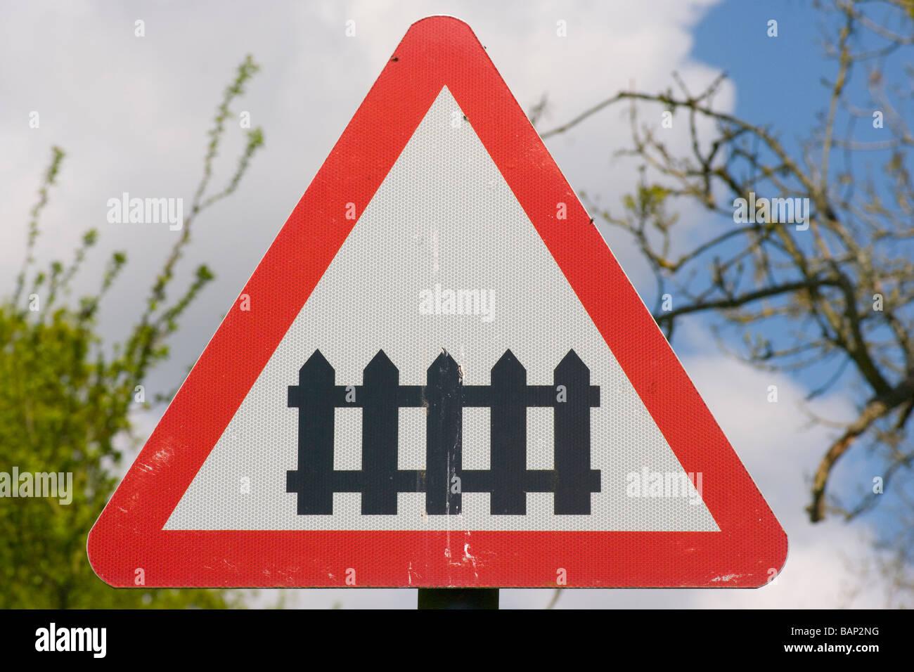 Railway Train Level Crossing uk Road traffic Sign Signs roadsign roadsigns - Stock Image