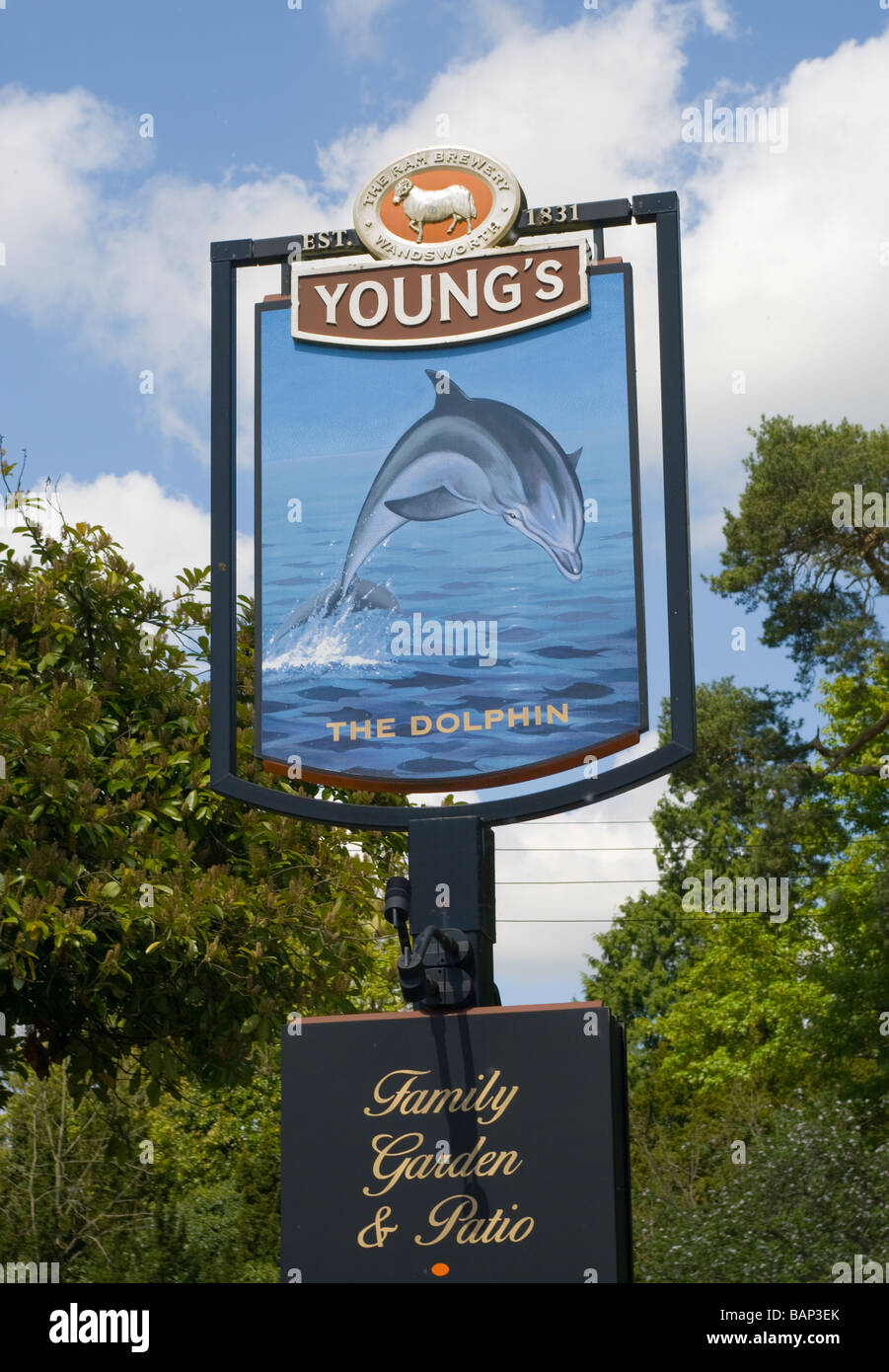 The Dolphin Pub Sign Betchworth Surrey Uk Signs - Stock Image