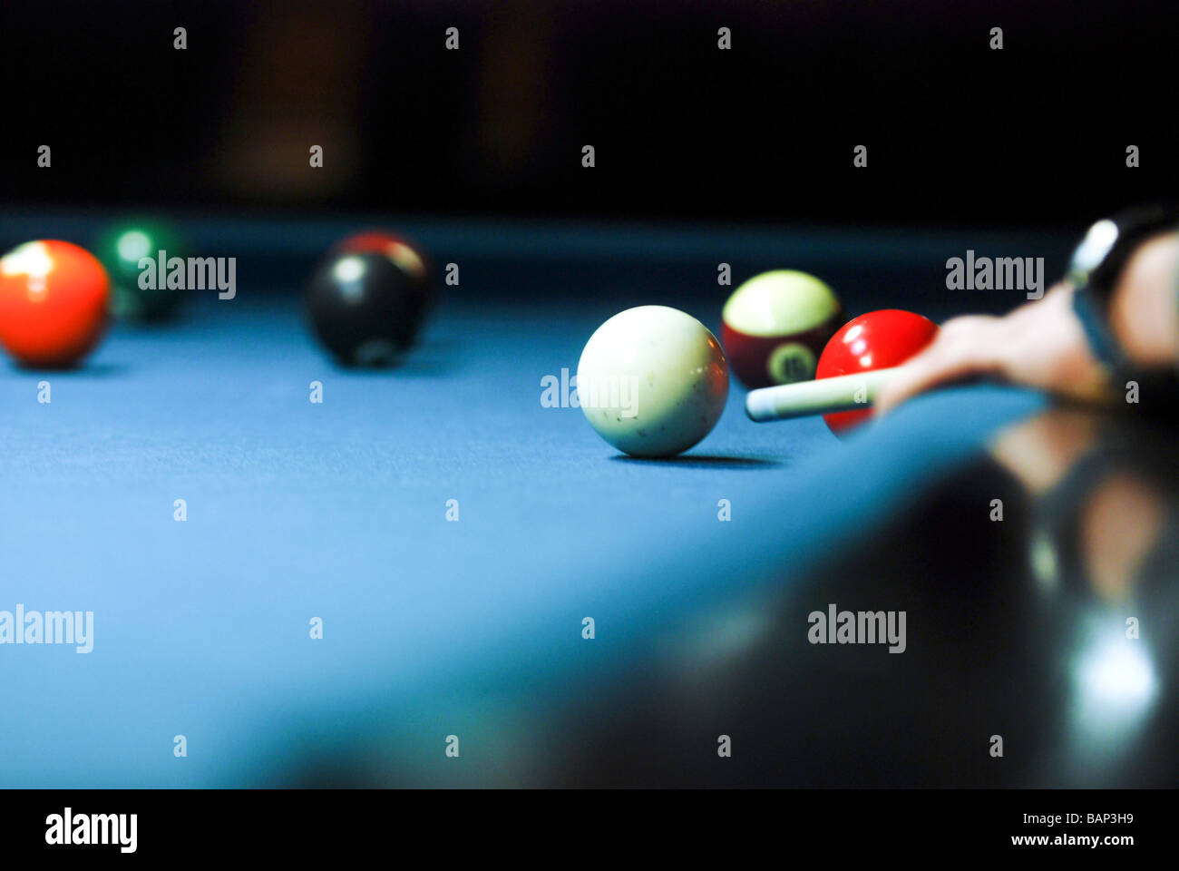 Billiard Table Selective focus - Stock Image