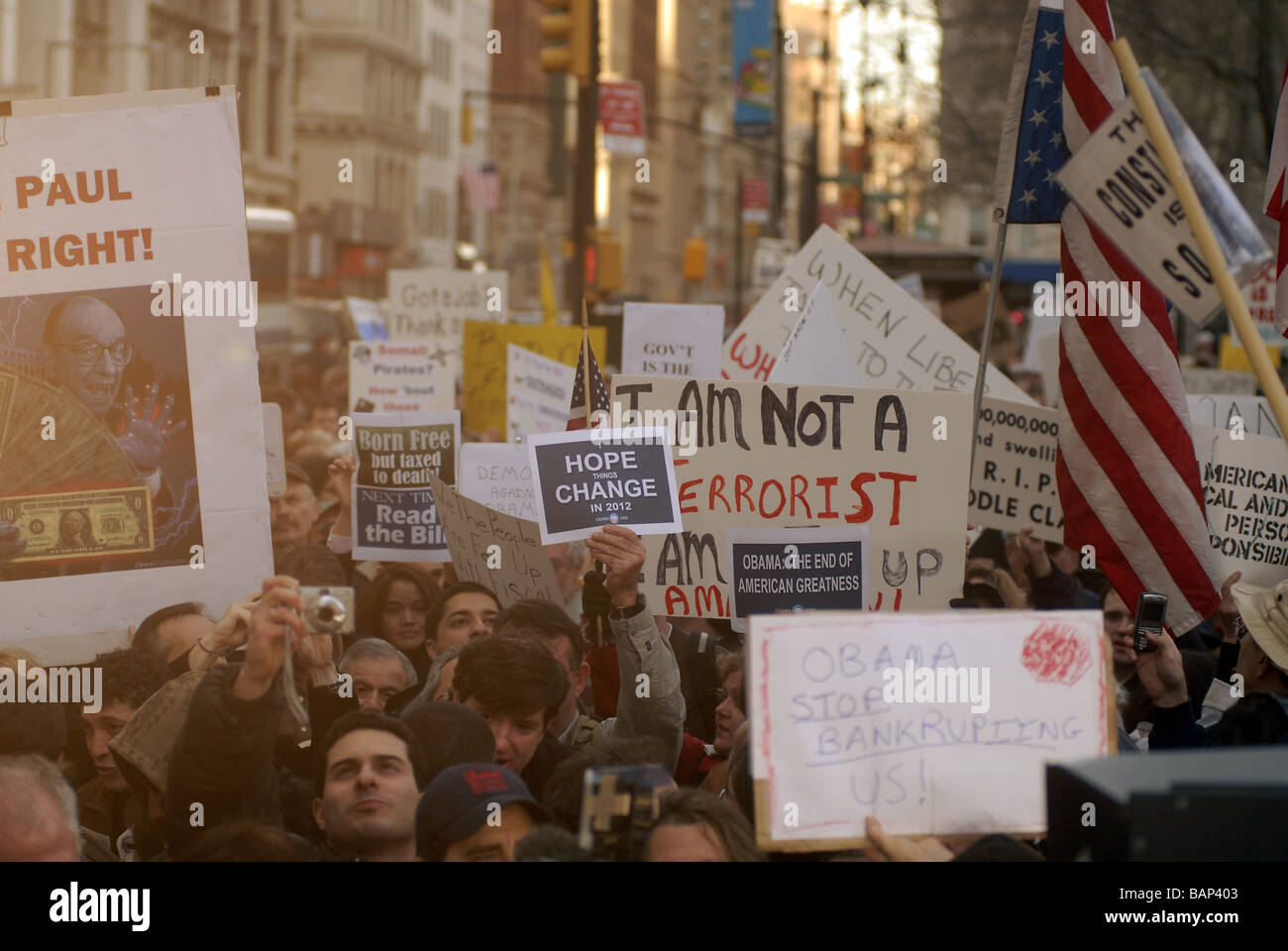 Thousands gather in City Hall Park in New York for a Tax Day Tea Party protest - Stock Image