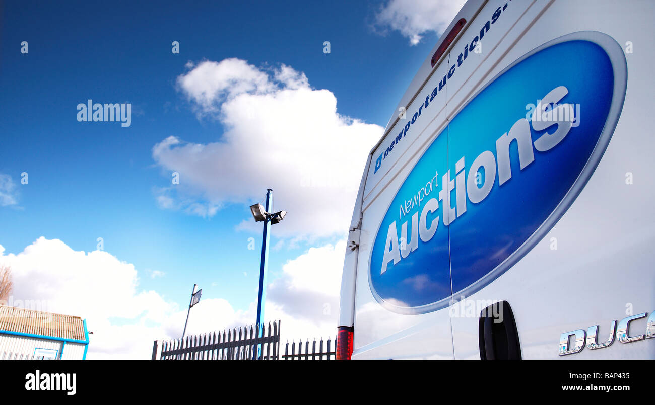 Newport Auctions sign on the back of a van - Stock Image