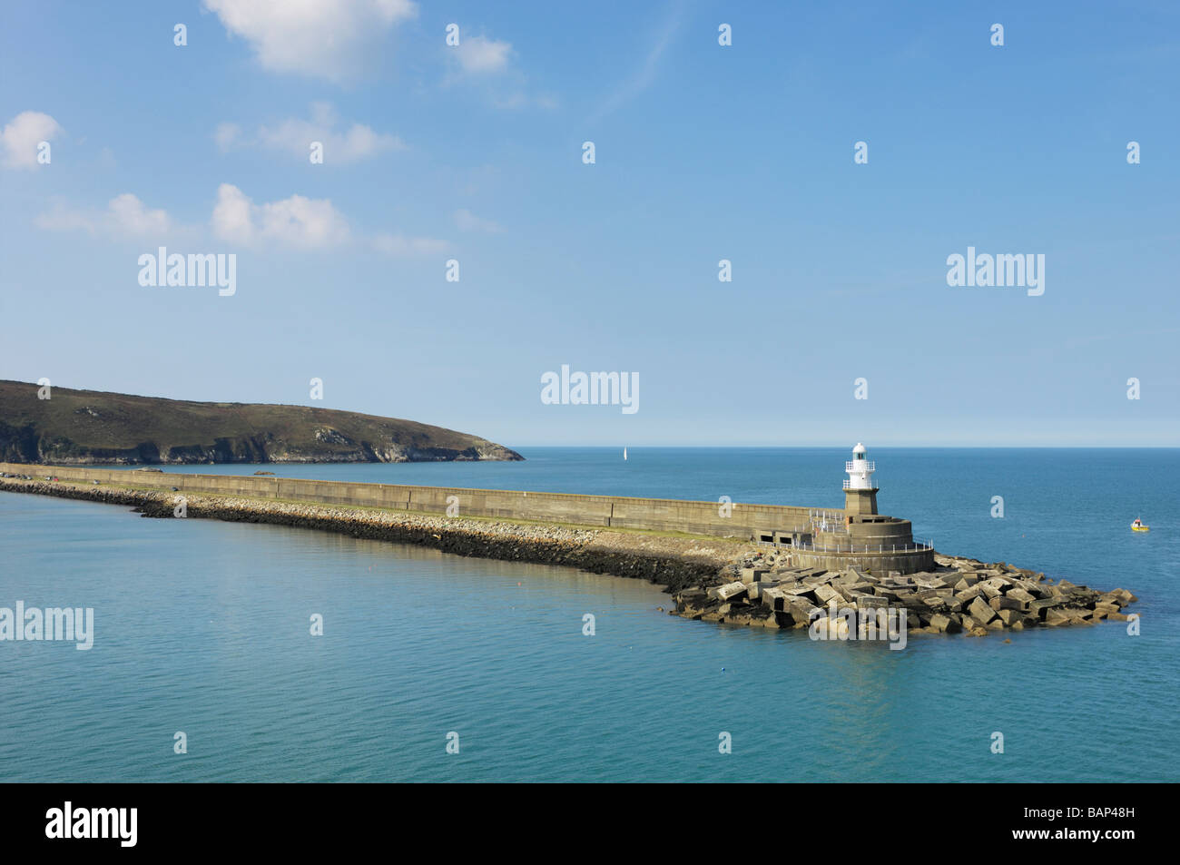 Lighthouse at Fishguard ferry port - Stock Image