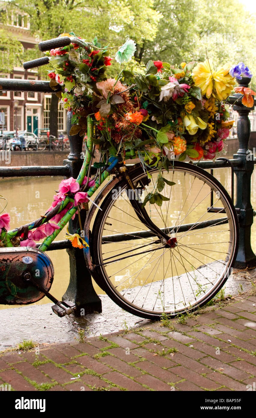 bicycle festooned or garlanded with artificial flowers on a canal bank in Amsterdam Holland - Stock Image