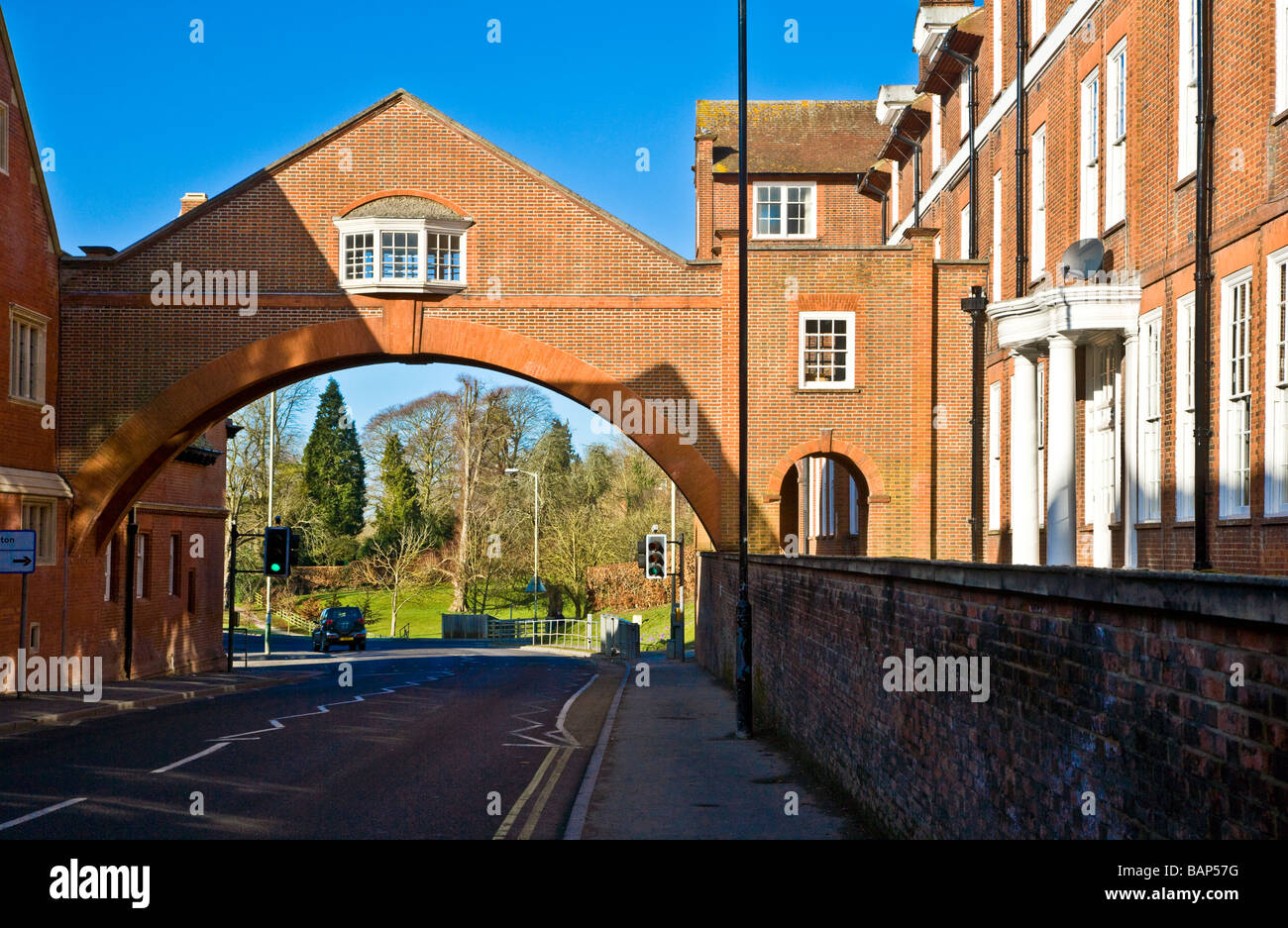 Marlborough College one of the most famous English public schools in the market town of Marlborough Wiltshire England - Stock Image