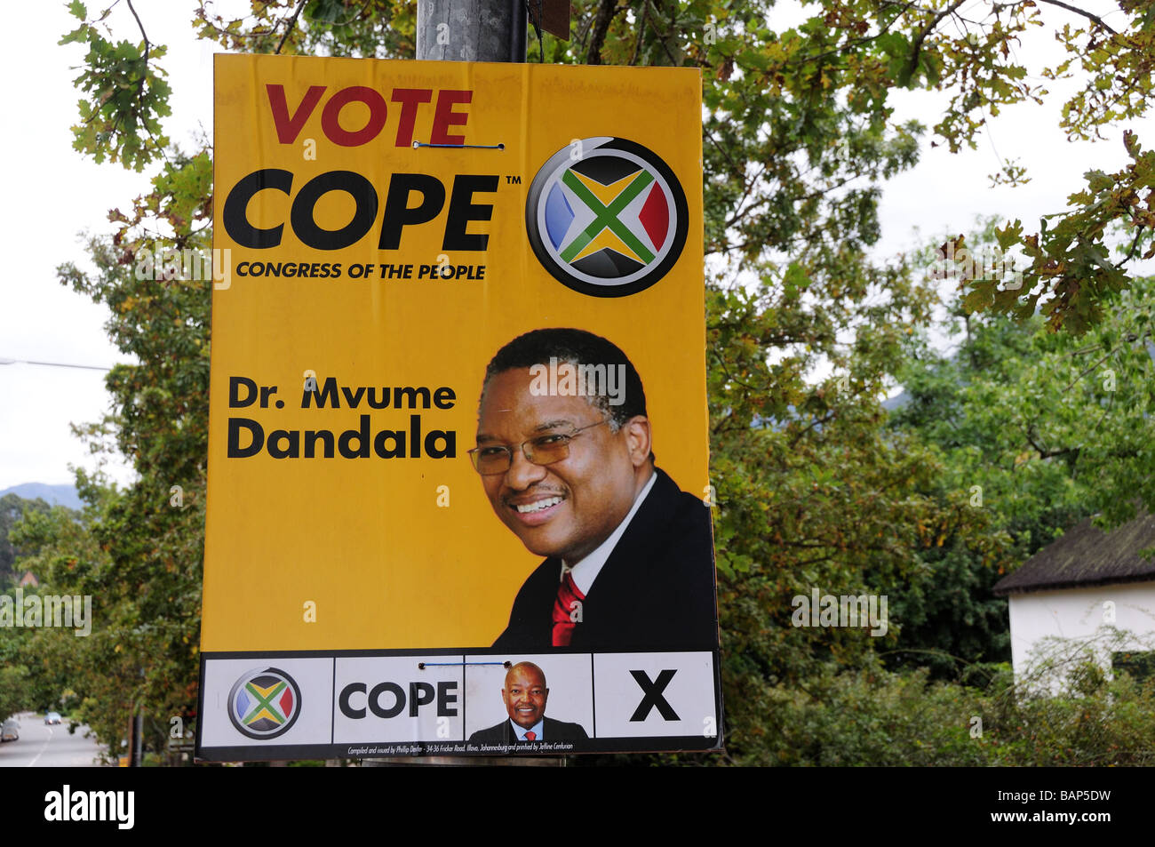 Election Poster for Dr Muvume Dandala Cope Party  South Africa - Stock Image