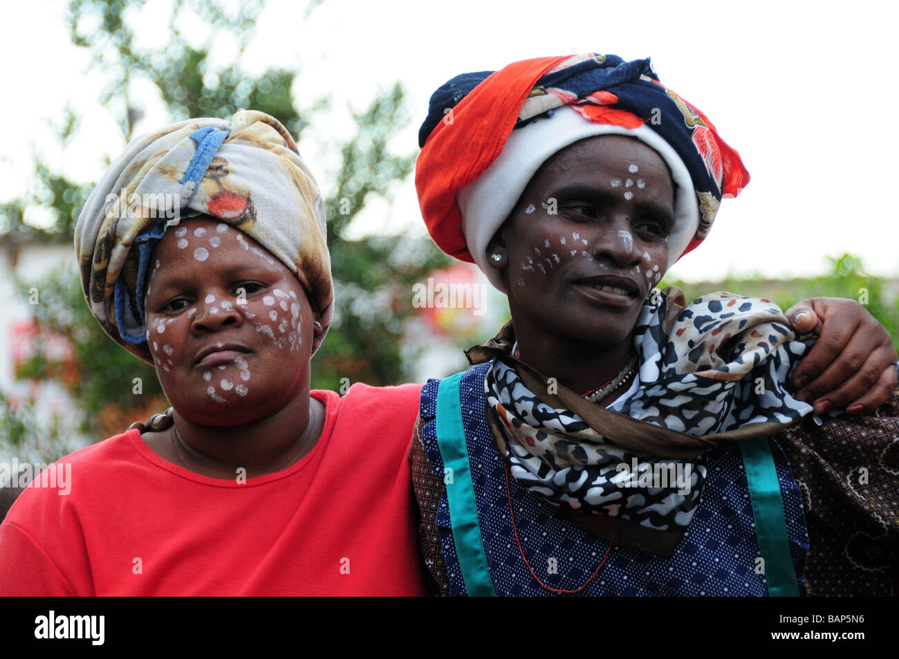 township south africa tribal women painted faces - Stock Image