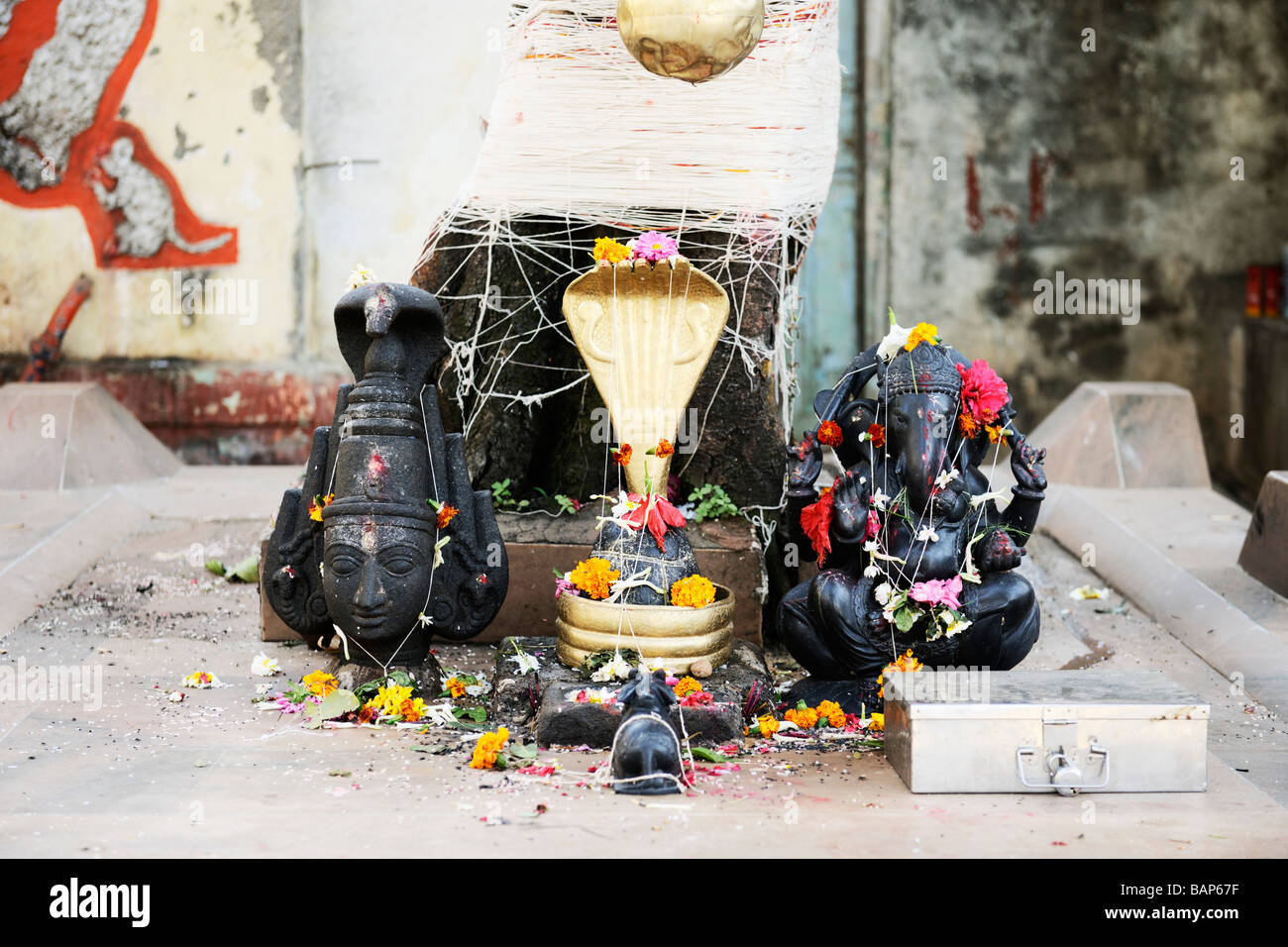 Lord Shiva Ganesh Shrine at Banganga Mumbai - Stock Image