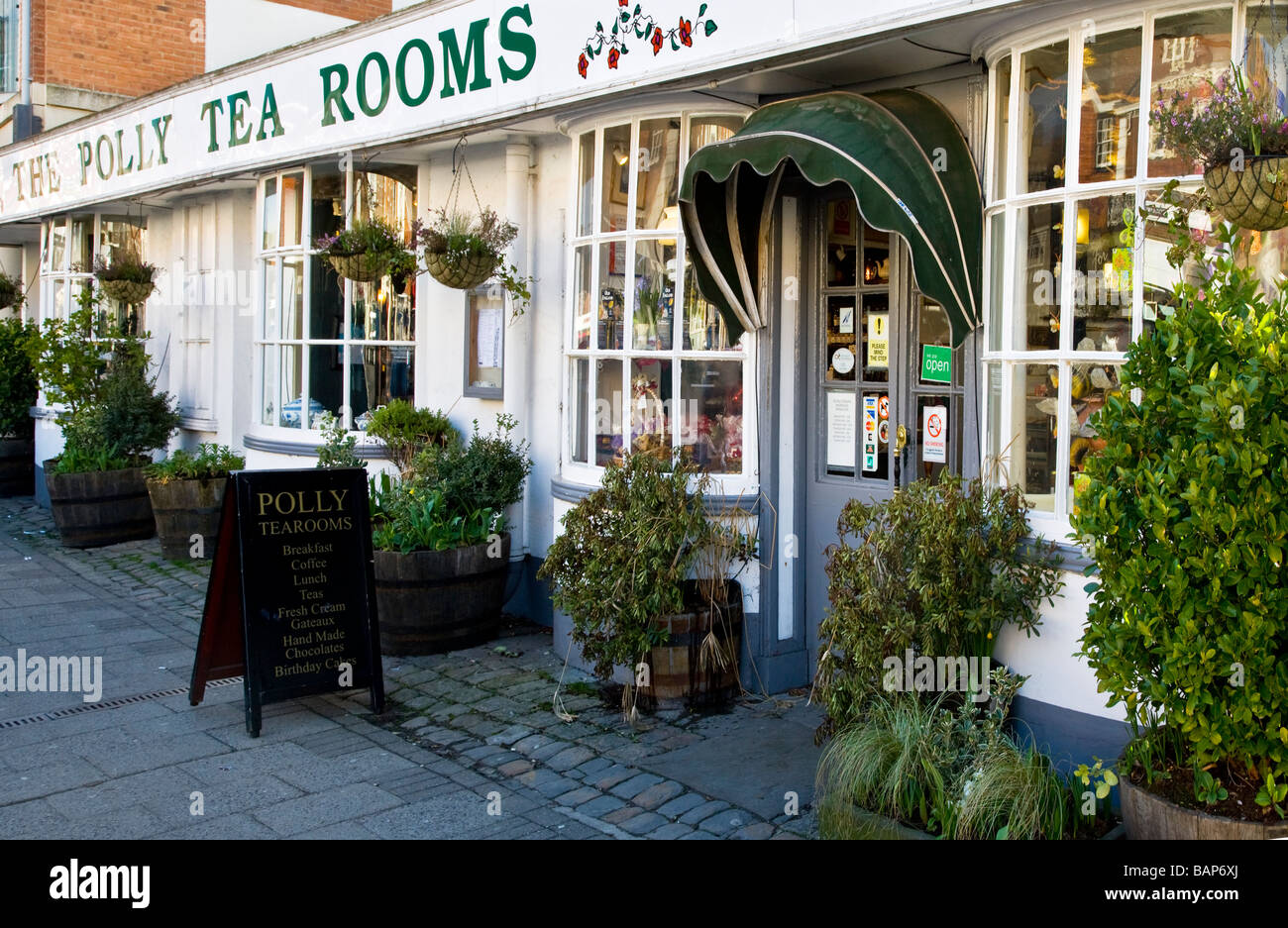 The Polly Tea Rooms in the High Street in the typical English market town of Marlborough Wiltshire England UK - Stock Image