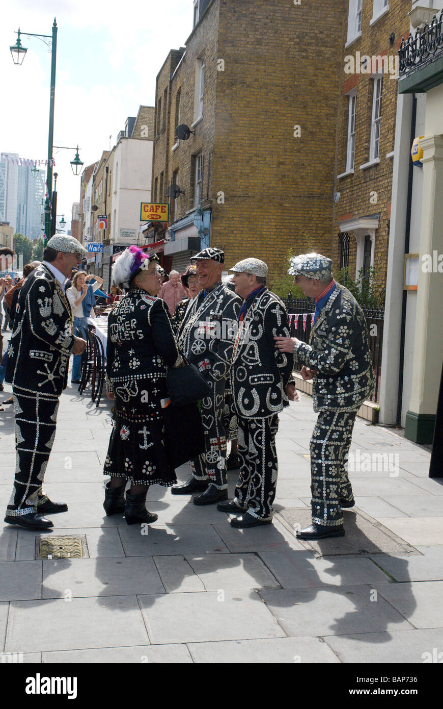 Hoxton Street party to celebrate 1948 Olympics,the day the Olympic flag was handed to London for 2012 games.Pearly - Stock Image